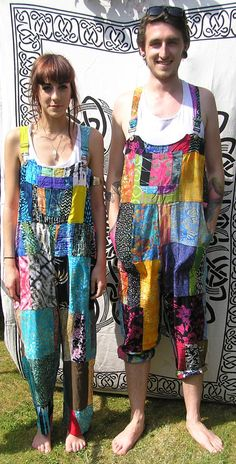 Patchwork dungarees jumpsuit overalls aztec by GlobalEmporium1