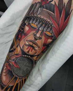 arm tattoo shaman face