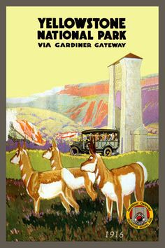 Yellowstone Park Gardiner Gateway 1916. Quilt Block printed on cotton for quilters. Ready to Sew.  Single 4x6 quilt block $4.95. Set of 4 quilt blocks with pattern $17.95.