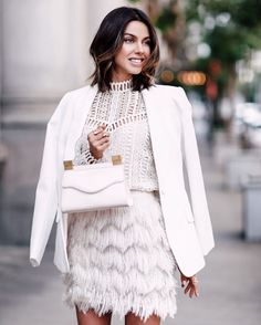 Beautiful in white. @vivaluxury carrying the Thalé Blanc Tiffany Micro Pearl handbag. #ThaleBlanc #FW15 #Handbag