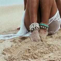 Bracelet/anklet/Choker with shells beads honeymoon crochet white beige ivory handmade Hippie Boho Seaside necklace accessory seashells gipsy
