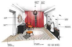 Croquis architecture intérieure-Réalisation Dominique JEAN pour EDECO Rénovation- Entrée - carreaux de ciment- papier peint panoramique.