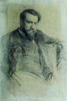 Portrait of Painter Valentin Serov Painting Guy Drawing, Life Drawing, Figure Drawing, Painting & Drawing, Alphonse Mucha, Portraits, Portrait Art, Amazing Drawings, Art Drawings