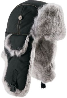 Nylon shell, recycled polyester lining and its natural rabbit fur trim combine to keep your look unique and your head warm and toasty.  Sizes:  M-2XL.  Colors:  Navy, Olive, Gray, Chocolate, White, Black. ($40)