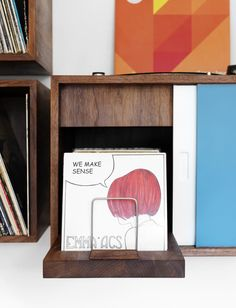 Turntable and vinyl storage by Broken Home.