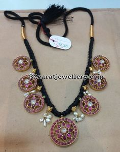 Black Thread Sets with Antique Pendants Gold Temple Jewellery, Gold Jewellery Design, Diamond Jewellery, Silver Jewellery, Jewlery, Bridal Jewelry, Beaded Jewelry, Pearl Jewelry, Antique Jewelry