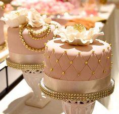 Vintage Pink Gold Pearls Elegant Cakes