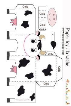 jouet de papier vache noire et blanche
