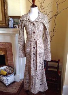 Free People ANTHROPOLOGIE Cardigan Sweater CROCHET FISHERMAN COAT WOMENS SMALL S #FreePeople #Cardigan #fishermansweater #sweatercoat #anthropologie #crochet #romantic
