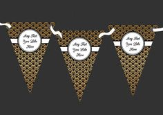 Black And Gold Personalised Birthday Party Bunting