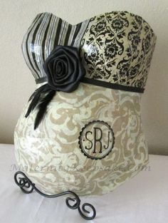 Stylish belly cast in damask and stripes with baby's initials by Maternity Keepsake.
