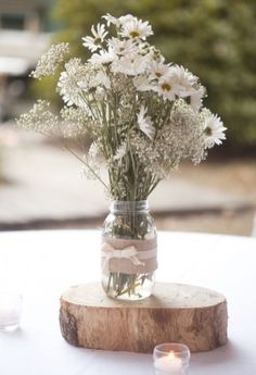 flower jar on wooden circle