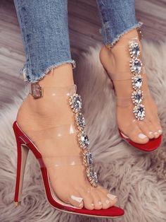【Chicme Hello 2018】Up to 80% off! Transparent Strap Gem-studded Heeled Sandals