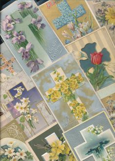 LOT of 15 VINTAGE CROSSES EASTER Cross HOLIDAY ANTIQUE POSTCARDS-hhh380