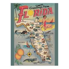 Sit On Top Kayak Camping Vintage Florida Map Post Card - Retro / Vintage Travel postcard. Greetings from Florida! Christmas Nativity, Retro Christmas, Italian Christmas, Christmas Cards, Inflatable Kayak, Fort Walton Beach, Vintage Florida, Florida Vacation, Vintage Travel