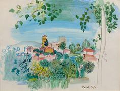 Raoul DUFY 1877 - 1953 Vernet-les-Bains - 1941 Aquarelle et gouache sur papier Matisse, Watercolor Flowers, Watercolor Art, Gouache, Catalogue Raisonne, Raoul Dufy, Painted Boards, Famous Artists, Oeuvre D'art