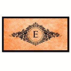 Alphabet Letter E Orange Canvas Print, Black Custom Frame