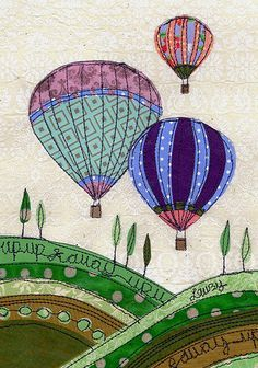 Up, Up & Away, no pattern, beautiful applique quilt … – Home living color wall treatment kitchen design Freehand Machine Embroidery, Free Motion Embroidery, Paper Embroidery, Free Machine Embroidery, Embroidery Applique, Embroidery Designs, Sewing Appliques, Applique Patterns, Quilt Patterns