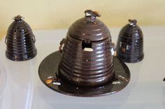 Vintage Ceramic Bee Hive Honey Pot Dish, spoon, Salt, Pepper Shaker Set Brown 20…
