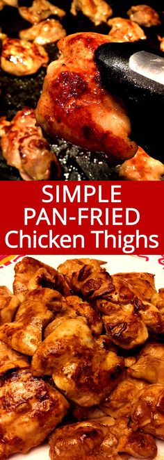 These pan fried chicken thighs are so juicy and beautiful golden-brown! Super simple dinner and everyone loves it!