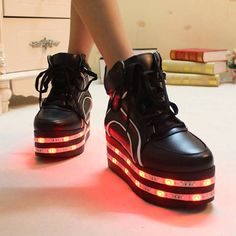 PU leather black high heel led shoes platform shoes with multicolors led strips sneakerUS size 8 for womenfoot length 245 cm *** Details can be found by clicking on the image. Light Up Shoes, Lit Shoes, Creative Shoes, Black High Heels, Platform Shoes, Fashion Shoes, Women's Fashion, Casual Shoes, Led