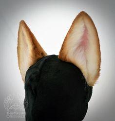 BLACK Wolf Ears realistic canine