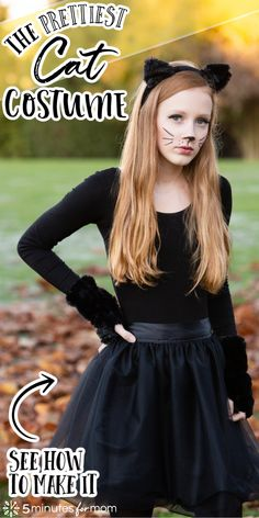 The Prettiest Cat Costume - See how to make a pretty DIY cat costume. This Halloween costume is perfect for girls, teens, and women. It's beautiful and easy to make. #catcostume #diycatcostume #diycostume #diyhalloweencostume Homemade Halloween Costumes, Halloween Cat, Diy Costumes, Cat Girl Costume, Black Cat Costumes, Spooky Decor, Costumes For Teens, Pretty Cats, Prettiest Cat