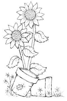 Cartoon A Retro Vintage Black And White Sunflower And