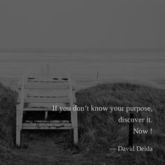 If you don't know your purpose, discover it. Now ! — David Deida