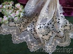 """Intricate Antique French Net Lace for Doll or Bridal Application 14 1/2"""" L x 16"""