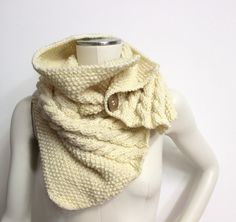 Chunky Knit Cowl Cream Neck Warmer Wool Knit Cowl by AikoThreads, $63.00