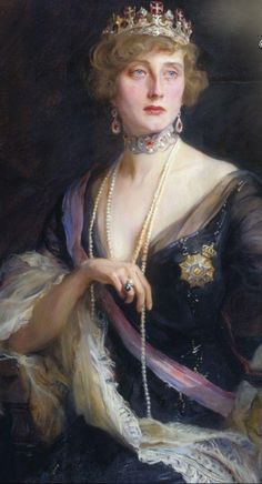 Queen Augusta Viktoria of Portugal, nee Pss of Hohenzollern-Sigmaringen wears the Order of Christ Tiara in a portrait by Philip Alexius De Laszlo, ca. Old Paintings, Beautiful Paintings, Romantic Paintings, Giovanni Boldini, Classical Art, Woman Painting, Portrait Art, Adele, Art History