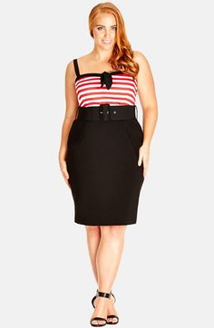 City Chic 'Hello Sailor' Belted Dress (Plus Size) available at #Nordstrom