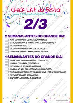 Check List - Organizando a Festa - 2