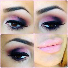 Shades of purple and pink give this look a smoky yet feminine feel.