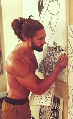 Man Bun Hairstyles, Mens Hairstyles With Beard, Boys Long Hairstyles, Hair And Beard Styles, Haircuts For Men, Curly Hair Styles, Ponytail Haircut, Drawing Hairstyles, Hairstyle Short