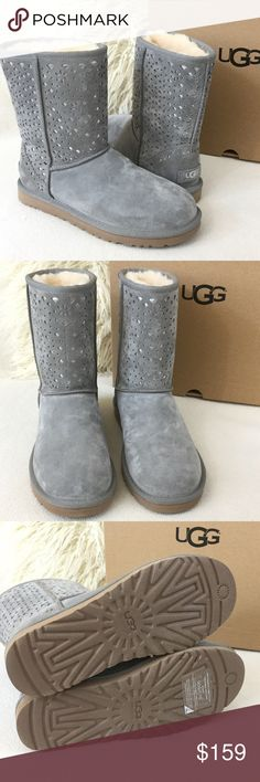 UGG BRAND NEW water resistant suede boots UGG BRAND NEW grey water resistant suede boots with beautiful metallic cutout pattern. Excellent condition never worn   Stay cozy and stylish. As always authentic and sorry no trades. UGG Shoes Winter & Rain Boots