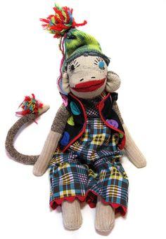 smiley vintage sock monkey