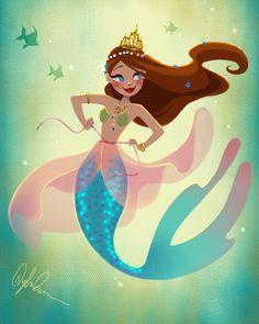 Mermaid Playing Dress-Up Art Print by dylanbonner Mermaid Cove, Mermaid Fairy, Cute Mermaid, Fantasy Mermaids, Unicorns And Mermaids, Mermaids And Mermen, Mermaid Artwork, Mermaid Drawings, Art Vampire