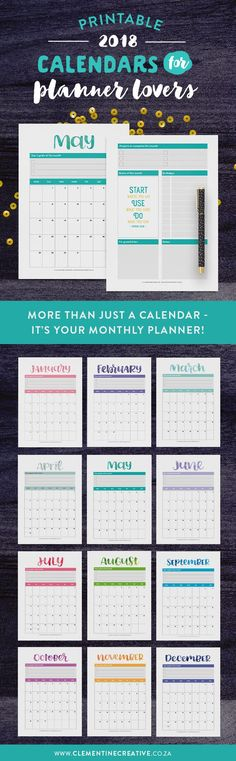 It's more than just a calendar - it's your monthly planner! Keep up with events, important dates, birthdays, exams or even your fitness routine with this cute printable 2018 calendar. Be inspired throughout the month by the motivational quote and write down reminders, bills to pay, etc. Click here to buy.