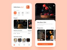 Food App UI designed by Anastasia Eletskaya. Connect with them on Dribbble; Design Android, App Ui Design, Flat Design, Design Design, Design Layouts, Graphic Design, Interface Web, Interface Design, Design Responsive