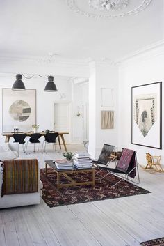 Take a Peek Inside the Beautiful and Eclectic Copenhagen Home of an Art Curator - Nordic Design Eclectic Living Room, Living Room Designs, Living Spaces, Ethnic Living Room, Scandinavian Interior Design, Modern Interior Design, Scandinavian Living, Scandinavian Apartment, Decor Room