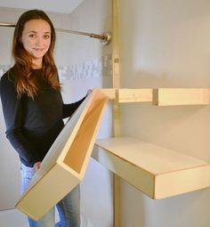 Floating Cabinets, Floating Shelves Diy, Floating Nightstand, Laundry Shelves, Wall Shelves, Bathroom Shelves, Plywood Shelves, Diy Cabinet Shelving, Build Shelves