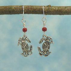 Handmade Earrings   Crab  Hot Pepper Red Bead by Hyacinthsbyme, $7.00
