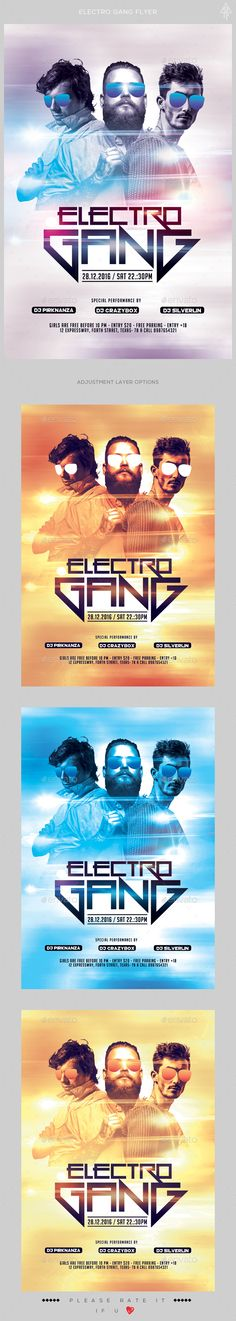 Electro Gang Flyer   PSD Template • Only available here! → https://graphicriver.net/item/electro-gang-flyer/17225505?ref=pxcr