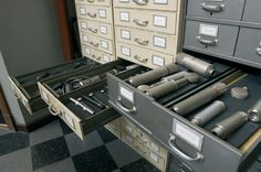Use my file cabinets to store mics vertically in foam