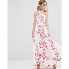 ASOS Cross Over Floral Pleated Maxi Dress ($110) ❤ liked on Polyvore featuring dresses, multi, tall dresses, high neck dress, tall maxi dresses, maxi dresses and flower print maxi dress