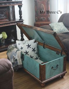 ***SOLD***Turquoise and Dark Stain Distressed Chest. Rich color and beautiful carved detail. Original hardware with soft close hinges. Distressed Furniture, Upcycled Furniture, Painted Furniture, Diy Furniture, Wooden Trunks, Wooden Chest, Chest Furniture, Furniture Makeover, Trunk Makeover