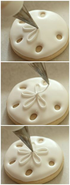 Sand dollar cookies - so pretty at a beach theme wedding shower