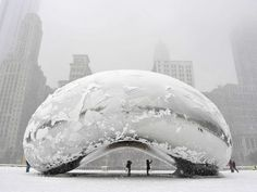 """The sculpture """"Cloud Gate"""", commonly known as """"the bean,"""" is covered in snow on March 5, 2013 in Chicago, Illinois.   ..rh"""